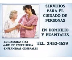 Cuidadores de adultos mayores a domicilio y en hospitales
