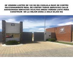 VENTA DE LOTES DE 130 M2 EN SAN PEDRO CHOLULA EN FRACCIONAMIENTO CERRADO