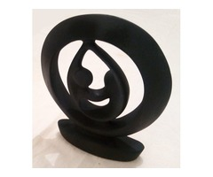 Preciosa Escultura De Piedra Color Negro Mate De 23 Cm