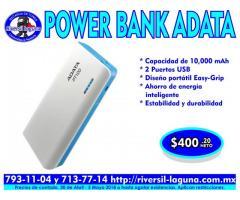 POWER BANK ADATA PT100 BLANCO CON AZUL