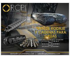 Cadenas y tren de rodaje para grúas industriales