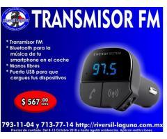 TRANSMISOR FM, CARGADOR Y MANOS LIBRES