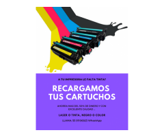 RECARGA DE CARTUCHOS DE TINTA Y TONER
