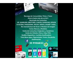 RECARGA DE CONSUMIBLES TINTA O TONER