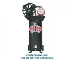 Compresor de 2 hp en tanque de 72 lts vertical monofásico Marca Multitanques de México.