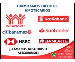 Tramitamos créditos hipotcarios: Infonavit, Pensiones, Bancario, CFE