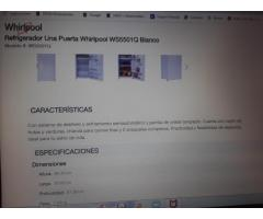 REFRIGERADOR NUEVO WHIRLPOOL 5 PIES CÚBICOS TIPO FRIGOBAR