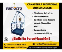 Canastilla individual con malacate de 500 kg