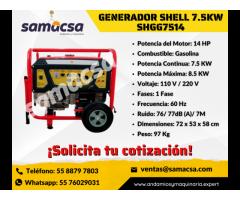 Generador Shell 7.5KW Motor a gasolina samacsa
