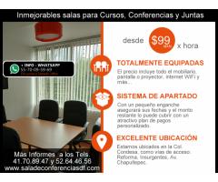 Renta de Salas para conferencias desde $99 pesos Col. Condesa