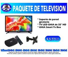 PAQUETE DE TV, SOPORTE Y SMART TV BOX