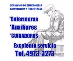 Servicios de enfermeras y cuidadores en hospitales y domicilio