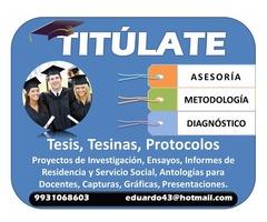 TESIS TESINAS PROYECTOS DE INVESTIGACIÓN CORRECCIONES ASESORÍA METODOLOGÍA TITULATE